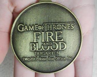 Game of Thrones big circle  Vintage Pendant - House Targaryen Jewelry, Beautiful pendant with a patina