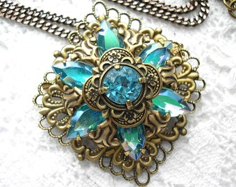 Aquamarine Starflower Brooch Pendant with Chain- Vintage Inspired Antiqued Brass- Morning Glory Designs