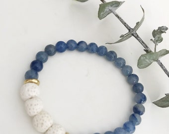 Blue aventurine + lava diffuser bracelets
