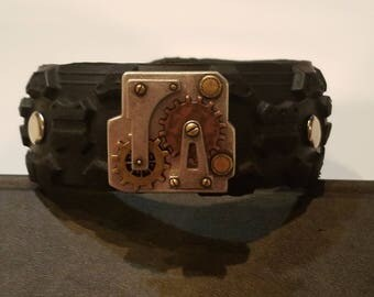 Steampunk recycled tire bracelet