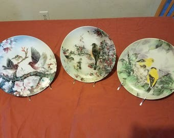 "W.S. George Set of 3 Collector Plates from ""Nature's Poetry"" Series by Lena Liu  (Issues 7-9)"