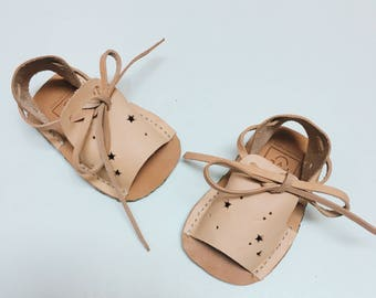 "handstitched leather ""Galaxia"" baby sandals"