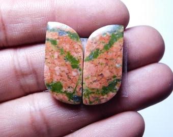 Pair AAA  Unakite jasper Cabochon,Loose Stone,Gemstone, Gorgeous unakite Cabochon Excellent Gemstone 100%Natural 30.35cts. (25x12x4)mm