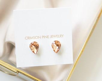 Blush Pear Earrings, Blush Bridal Earrings, Blush Bridesmaids Earrings, Blush Everyday Earrings, Blush Pear Earrings, Blush Diamond Earrings