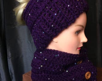 Women's Purple Sequin Messy Bun Hat And Neck Wrap