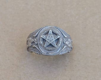 Vintage Sterling Silver US Army Masonic ring size-9.75   E15