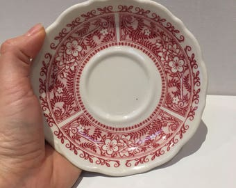 Syracuse China Strawberry Hill, Tea cup saucer, Transferware with Scalloped Edge, Restaurant Ware by Syracuse New York 1971