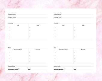 Blog Product/Service Review Printable