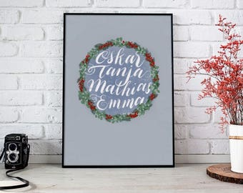 Personalized hand drawn wreath for the holidays. Print out as wall art, custom greeting cards or other applications. A4 JPEG & PDF files