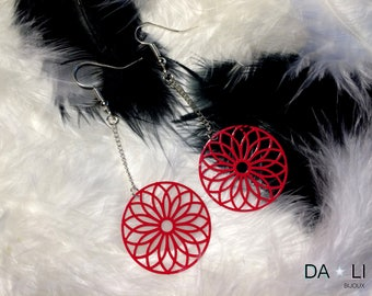 """Earrings """"Rosace"""", cherry red color"""