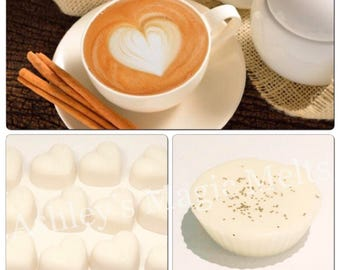 3 cappuccino coffee scented soy wax melts, cheap wax melts, food scented wax, strong highly fragranced wax melts, long lasting melts