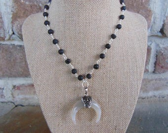 Black Beaded Horn Necklace