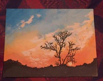 African sunset. Tree, Sunset, landscape