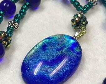 Turquoise and blue beaded boho necklace