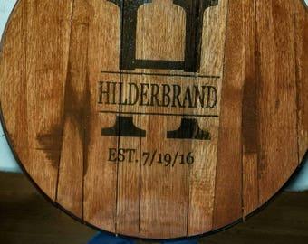 Laser engraved Bourbon Barrel Head