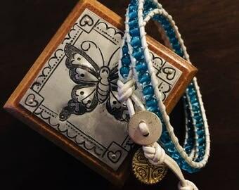 Blue Seaman's Glass 2Wrap Bracelet