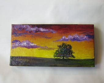 oak tree, ORIGINAL Miniature art, Tree, Landscape, Sunrise and tree,