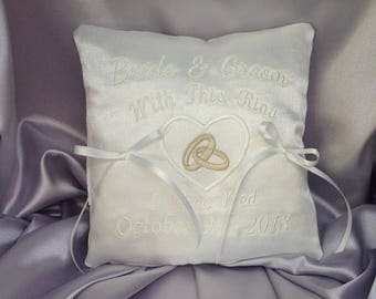 Wedding Ring Cushion, Personalised Ring Bearer Pillow, Bridal Accessory, Wedding Rings, White or Ivory, Luxurious Satin, 7 inches, RC-1