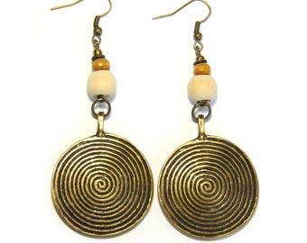 2-3/4' Antique Brass Spiral Handmade Earrings