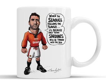 90' midfield legend Eric Cantona Caricature on a White Ceramic Mug