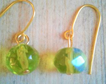 14k Gold Filled Crystal Opaque bead earrings