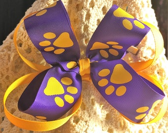 "Fancy Bow, Stacked Boutique, Easter Bow, Boutique Bow, Fancy hairbow, Hair Bows, Purple & Gold, Girl Hairbow, Large Bow, Paw Print, 6"" Bow"