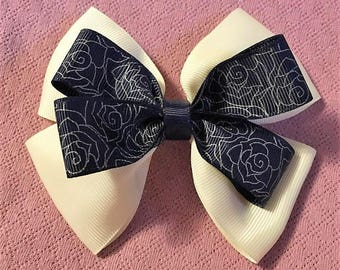Toddler Bow, Blue Hair Bow, Fancy Bow, Girls Hair Bows, Boutique bow, White Bow, Girls hair bow,  Overstacked Bow, Pinwheel Bow, 4 1/2""
