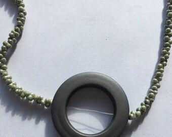 Gray pendant, round pendant necklace