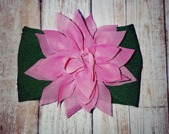 Olive nylon baby headband with pink flower, green headband, baby headband, nylon baby headband, nylon headband, pink flower