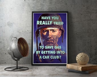 WWII Poster Propaganda American Soldier - car club, vintage, ww2, world war two, second, patriotic, patriot, room, boys, mens, man cave