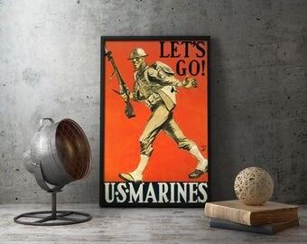 "WW2 Propaganda Poster - ""Let's Go! U.S. Marines"" WWII military wall art decor, vintage prints, us, usa, united states, marine, usmc, navy"