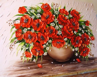 Red poppies,Oil painting Flowers ,Poppy painting ,Home decor ,Palette knife