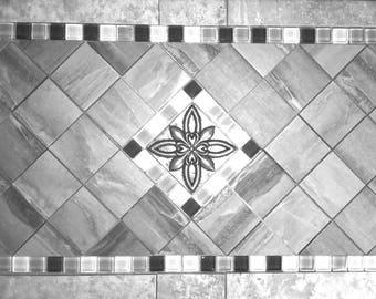wei und grau medaillon aufkantung fliesen mosaik marmor metall und glas wand oder fuboden design deco - Ubahnaufkantung Grau