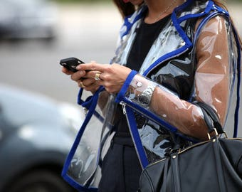 Transparent PVC Biker Jacket with Blue Trim, Clear jacket, Gift for her, Free Shipping!