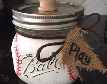 Play Ball Mason Jar