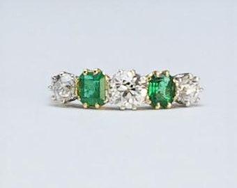 Art Deco Emerald and Diamond Five Stone Ring