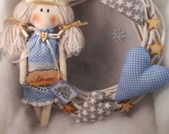 Wreath for front door with Angel, Christmas wreath