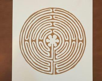 Labyrinth Block Print