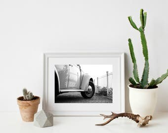 Black and White Volkswagon Car - Digital Print Artwork Photography