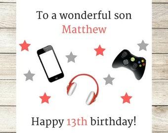 Handmade Personalised Birthday Card, Male Birthday Card, Son, Brother, Nephew, Daddy, Teen Boy 10th, 13th, 14th 15th 16th Tech Phone Xbox