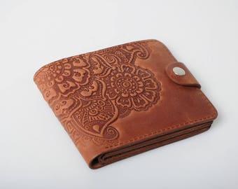 Unique wallet ladies, soft leather wallet, small wallet women's, leather billfold, brown wallet, embossed billfold, pocket wallet