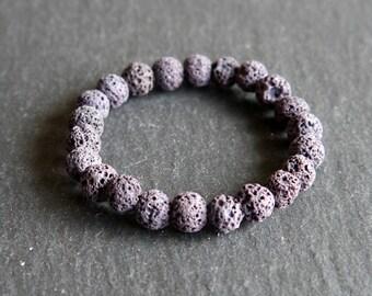 Spiritual Lava Rock Healing Diffuser Yoga Bracelet Light Weight Dyed Dark Grey