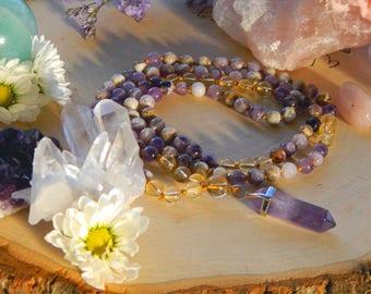 Joy Mala: Amethyst and Citrine for Meditation and Crystal Healing