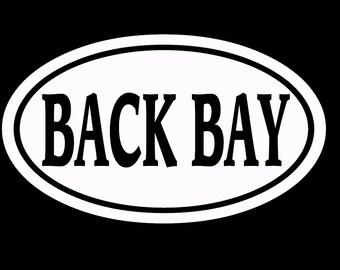 "BACK BAY BOSTON  - white vinyl die-cut peel and stick window decal oversize 4"" x 6"""