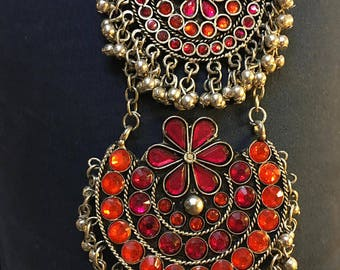 Elegant Necklace Enamel + Afghan jewelry + Gift for Her + Ethnic Tribal Necklace