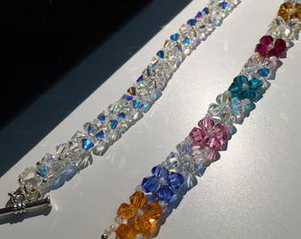Swarovski Crystal bracelet, 6mm Crystal,  Bicone shapped cyrstal beads, Multi Colored Crystal, Clear Swarovski crystals