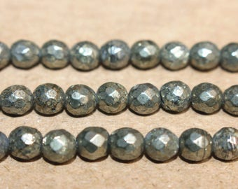 Natural  Iron Pyrite Beads Faceted Beads 2mm 3mm 4mm 6mm 8mm 10mm 12mm ,15 Inches Full strand