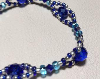 Blue and Silver Crystal Beaded Bracelet