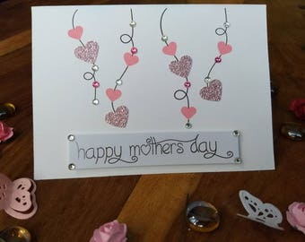 Happy Mother's Day card. Glitter love hearts and Swarovski crystals. Can be personalised