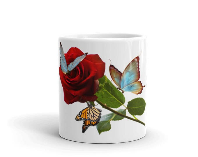 Butterflies & Rose Coffee Mugs for Coffee Lovers, Gifts for Teachers, Mom, Friend, Grandma, Ceramic, Girls, Women, CoffeeShopCollection